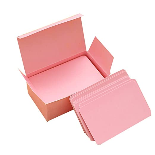 fablcrew – Juego de 100 tarjeta blanca en blanco Tarjeta de memoria blanca para Word Graffiti DIY Tarjeta vacío papel Kraft 9 * 5CM rosa