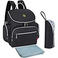 S-ZONE Multi-function Baby Diaper Bag Backpack with Changing Pad and Portable Insulated Pocket