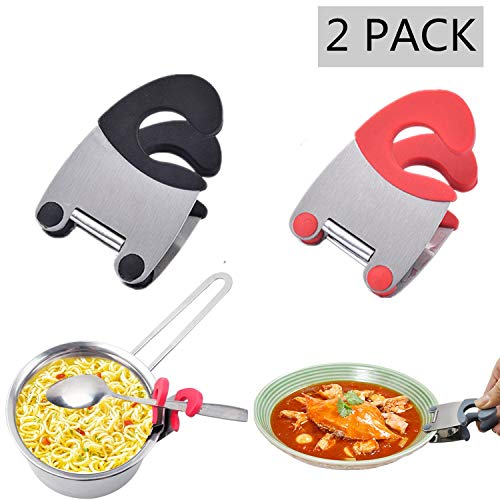Stainless Pot Clip Steel - Spoon Holder/Pot Clip-2 Pack Kitchen Spoon Holder,Stainless Steel Anti-Scald Grip Resistance Spoon Clips Spoon Rest Pot Holder Durable Kitchen Utensils(Red and Black)
