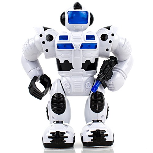 B/O Pioneer Kids Toy Robot, Walking Action Robot with Colorful LED Lighting, Swinging Arms, ON/OFF switch, Cool Sounds, Hand Gun, 4 AA 1.5V Replaceable Battery Slot (Handgun Switch)