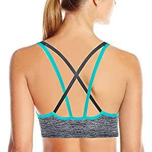 AKAMC Women's Removable Padded Sports Bras Medium Support Workout Yoga Bra 3 Pack,Medium