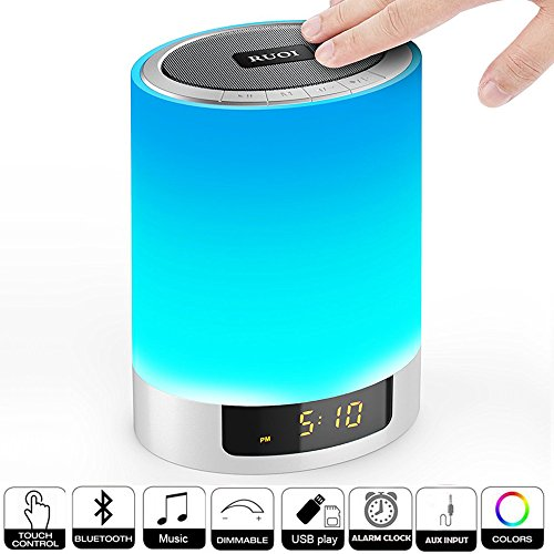 Night Lights Bluetooth Speaker, Ruoi Touch Sensor LED Bedside Lamp + Dimmable Warm Light & Color Changing, Wireless Speakers with Alarm Clock, MP3 Music Player, Best Gift for Kids, Party, Bedroom (Electronics All)