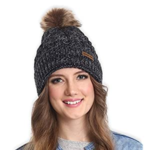 Brook + Bay Faux Fur Pom Pom Beanie Stay Warm & Stylish Thick, Soft & Chunky Cable Knit Beanie Hats for Women & Men Serious Beanies for Serious Style