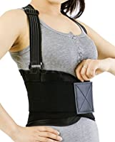 Back Brace with Suspenders for Women, Lumbar Support for Lower Back Pain, Gym / Bodybuilding / Weight Lifting Belt, Training, Work Safety and Posture - NEOtech Care (TM) Brand - Black Color - Size M