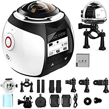 OVTECH Wireless 360 Degree Panoramic Camera 3D VR Action Sports Camera Wifi 16MP 4K HD 30fps Waterproof 230° Lens Mini DV Player Silver