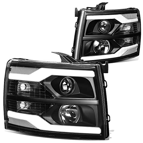 DNA Motoring Black clear HL-HPL-CSIL07-G2-BK-CL1 Dual LED DRL Projector Headlight/Lamp [for 07-14 Chevy Silverado]