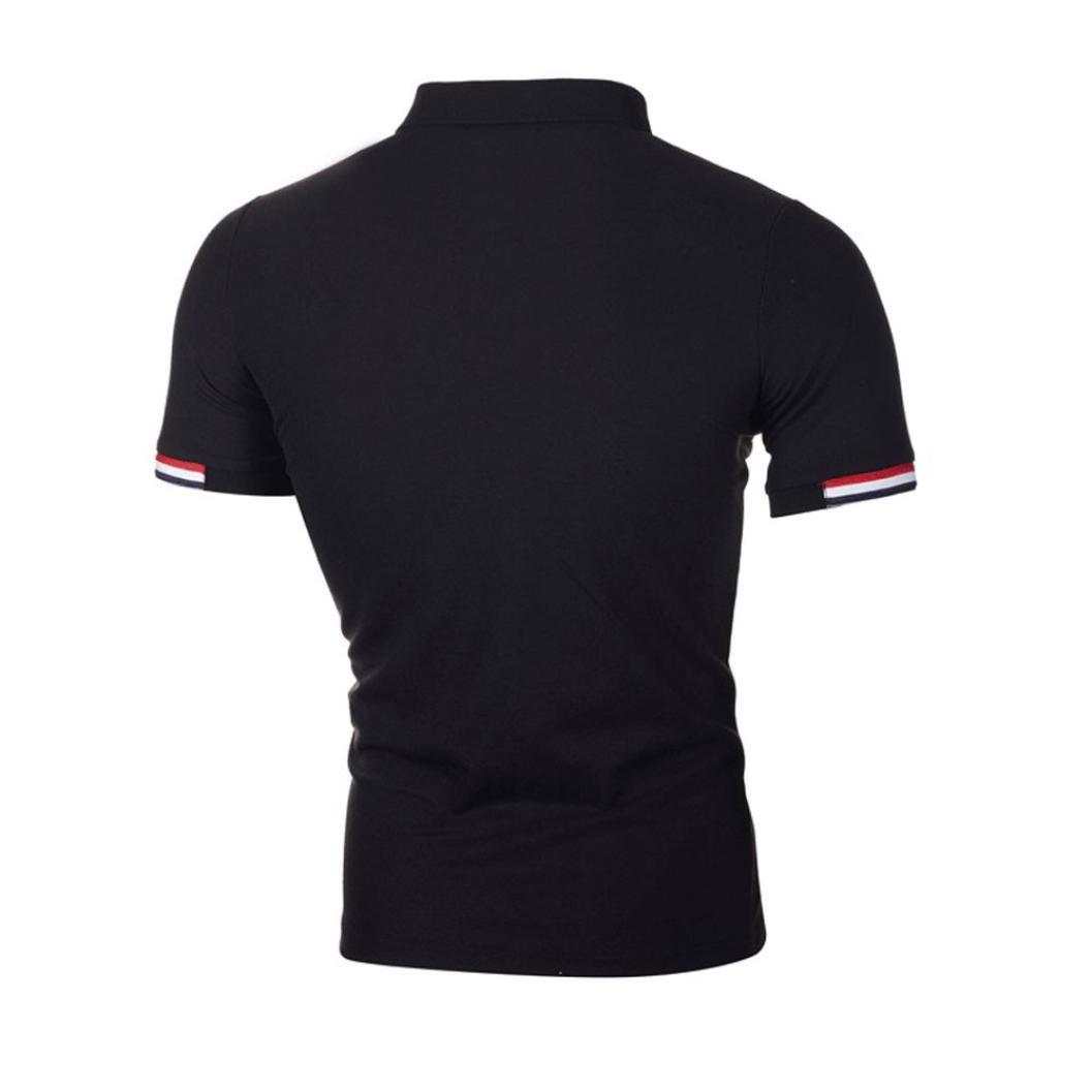 Navy, L Easytoy Mens Csual Short Sleeve Tech Slim Polo T Shirts Top