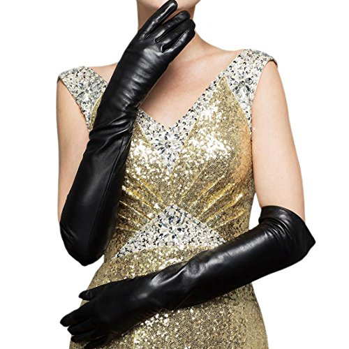 CASF Super Long Opera Ladies Lambskin Genuine Leather Gloves For Women Black L