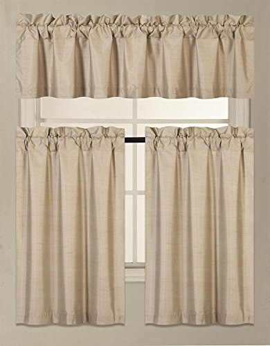 Fancy Collection 3 Pieces Faux Silk Blackout Kitchen Curtain Set Tier Curtains and Valance Set Solid Taupe Window Set Thermal Backing Drapes (Valance Silk Curtain)