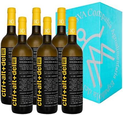 Ctrl+Alt+Del Blanco Semi-dulce - Vino Joven de la Tierra de Castilla - La Mancha - Diferente y fácil de beber - Caja de 6 Botellas x 750 ml