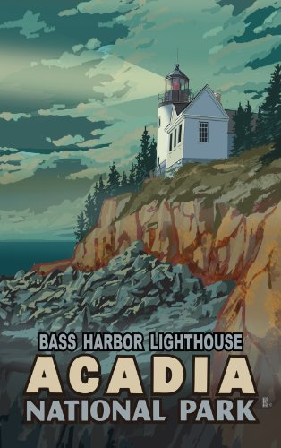 Northwest Art Mall MR-1780 Bass Harbor Lighthouse Acadia National Park Maine 11 by 17-Inch Print by Mike - Mall National Harbor