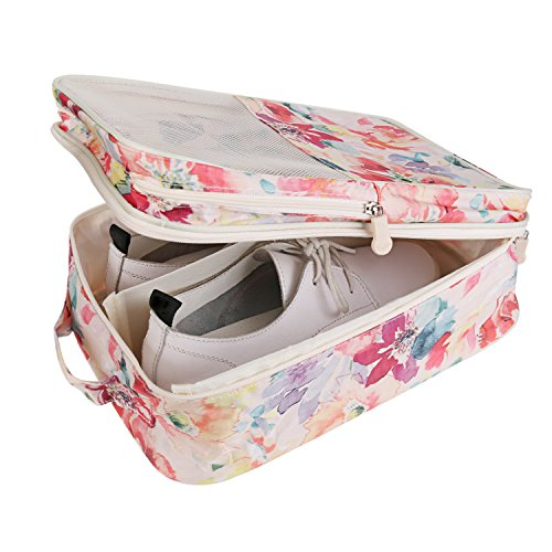 Travel Shoe Bag with Zipper Waterproof Portable Storage Organizer Bags for Women (Pink -