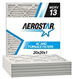 Aerostar Pleated Air Filter, MERV 13, 20x20x1, Pack of 6, Made in the USA