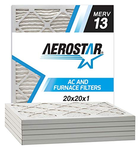 Aerostar 20x20x1 MERV 13 Pleated Air Filter, Made in the USA, 6-Pack