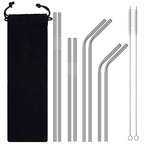 AMOUSTORE Stainless Steel Metal Straws Reusable with Cleaning Brushes - Curved Drinking Straws for 30oz / 20oz Tumblers Yeti Dishwasher Safe (8pcs Straw,2pcs Brush,1pcs Black Bag)