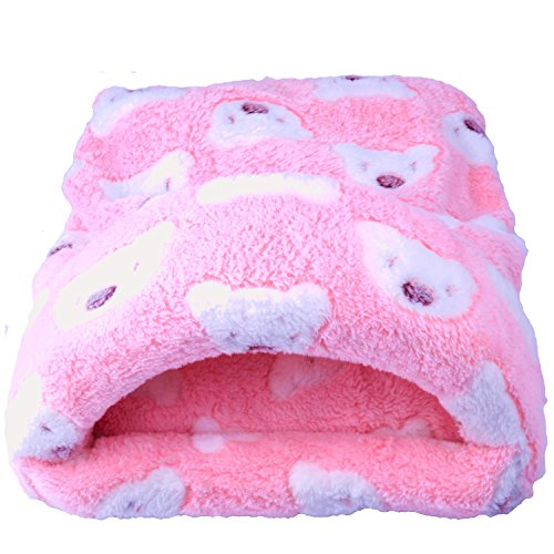 Sleeping Bed Winter Warm Mat House Cage Nest Sleep Pad for Guinea Pig Hamster Hedgehog Squirrel Mice Bunny Small Animals Accessories (L, Pink) ()