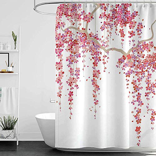 homecoco Shower Curtains Pink and Grey House Decor,Cherry Blossom Trees Branch Springtime Happy Vacation Traveling Destinations W72 x L72,Shower Curtain for clawfoot tub