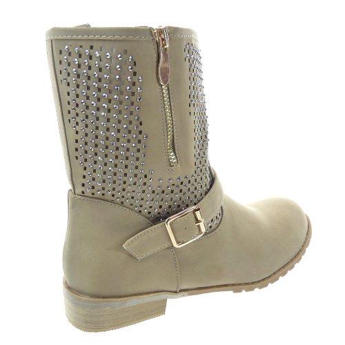 Kickly - Chaussure Mode Bottine Botte Cavalier - Motard montante femmes résille - strass diamant Talon bloc 3 CM - Intérieur synthétique - Khaki/Or