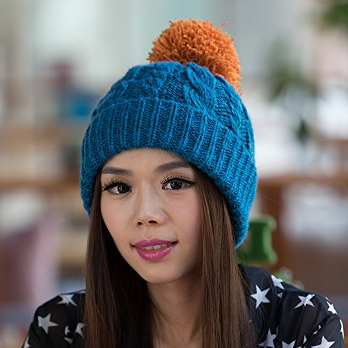 para Sombrero Damas del Punto de Sombrero Coreana BLUE de Bromista del a Yellow Sombrero Maozi Moda Flanger Punto otoño Coreana Invierno Lana Versión OaqcTwE