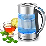 Digital Hot Water Glass Kettle - 1.7L Portable Easy Pour Teapot Boiler - Electric Coffee Brewer Tea Heater Stainless Steel Inner Pot, Filter, Adjustable Temperature Control - NutriChef PKWTK75