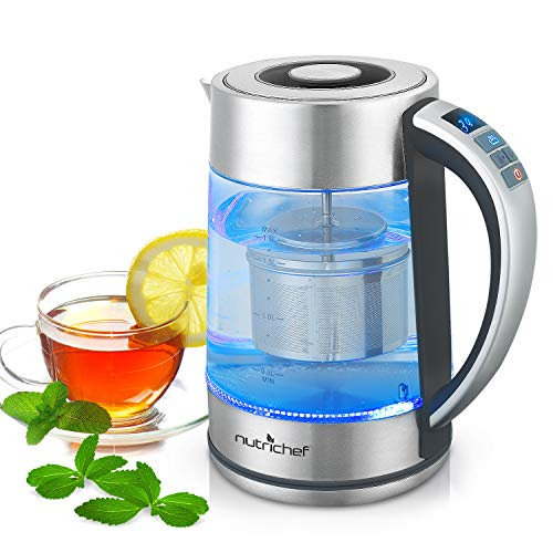 Inner Glass Panel (Digital Hot Water Glass Kettle - 1.7L Portable Easy Pour Teapot Boiler - Electric Coffee Brewer Tea Heater Stainless Steel Inner Pot, Filter, Adjustable Temperature Control - NutriChef PKWTK75)