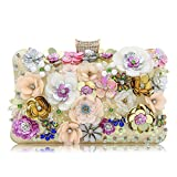 Milisente Women Clutches Colorful Flower Evening Bag Sequins Satin Clutch Purse