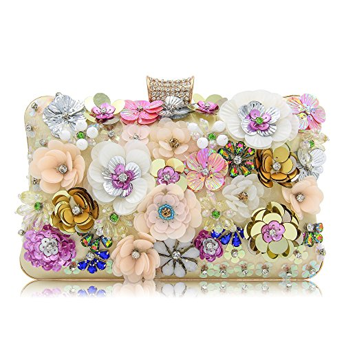 Milisente Women Clutches Colorful Flower Evening Bag Sequins Satin Clutch Purse - Beaded Sequin Evening Bag