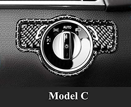 HOTRIMWORLD Carbon Fiber Headlight Switch Button Frame Trim Cover 3pcs for Mercedes-Benz A B C E G Class CLA GLA GLE GLK GLS ML GL Model A