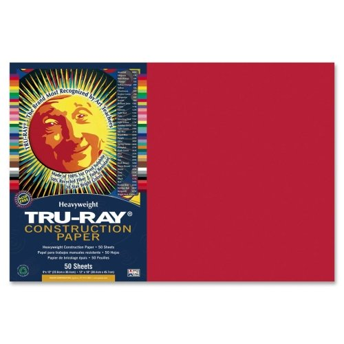 Wholesale CASE of 25 - Pacon Tru-Ray Heavyweight Construction Paper-Construction Paper,76lb,12''x18'',50/PK,Holiday Red by PAC