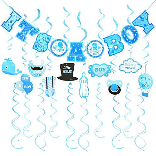 FRIDAY NIGHT 30pcs It's A BOY Banner Boy Baby Shower Cute Hanging Decoration for Parties (1Banner + 20Dizzy Danglers + -