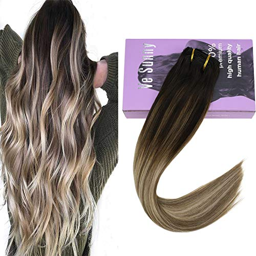 VeSunny 7pcs/120g Ash Brown Balayage Clip in Hair Extensions Color #3 Fading to #8A Mix #18B Clip in Ombre Hair Extensions Remy Human Hair Full Head 20