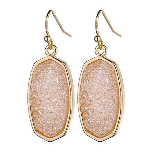 Statement Oval Simulated Druzy Crystal Stone Gold Tone Drop Dangle Earrings for Women and Girls(Pink Quartz) ()
