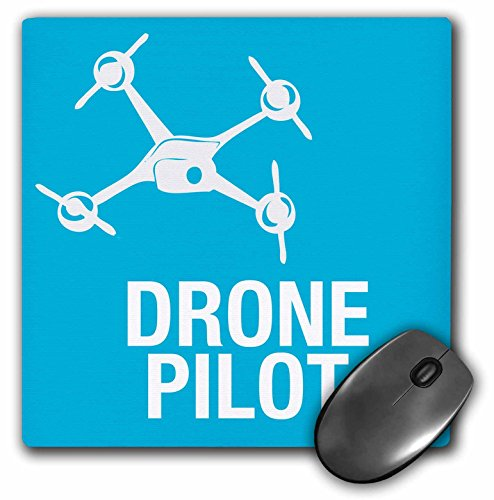 "3dRose Blue Drone with UAV Pilot Mouse Pad, 8"" x 8"" (mp_179914_1)"