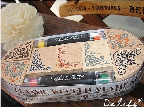 Wooden Rubber Stamp Box - Vintage Print Style - Capital Classical Angle Lace Stamp Ink Pad Pen Sets by Jolin