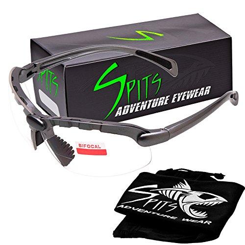 Gloss Black Nylon Frame (Spits C2 Gray Bifocal Safety Glasses - Clear 1.75 - ANSI Z87.1+ Compliant)