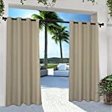 Outdoor Patio Curtains Exclusive Home EH7999-05 2-84G Indoor/Outdoor Solid Cabana Grommet Top Window Curtain Panel Pair, Taupe, 54