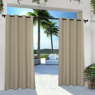 Exclusive Home Curtains Indoor/Outdoor Solid Cabana Grommet Top Curtain Panel Pair, 54x84, Taupe, 2 Piece