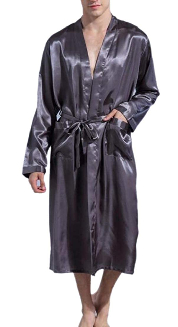 GenericMen Silk Satin Robe Open Front Long Kimono Bathrobes Robe