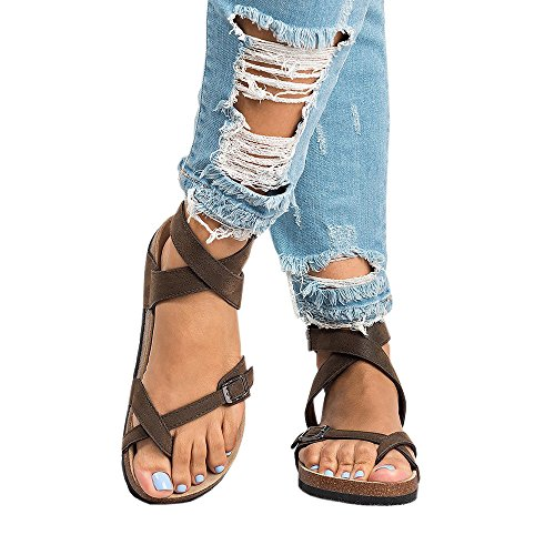 Womens Flat Sandals Ankle Strap Buckle Platform Flip Flop Gladiator Thong Summer Shoes (Thong Platform Shoes)