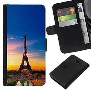 Protector de cuero de la PU de la cubierta del estilo de la carpeta del tirón BY RAYDREAMMM - Sony Xperia M2 - Torre Eiffel de Francia