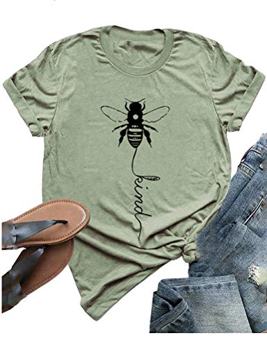 - YourTops Women Bee Kind T-Shirt Graphic Shirt (US S, 4-Green)