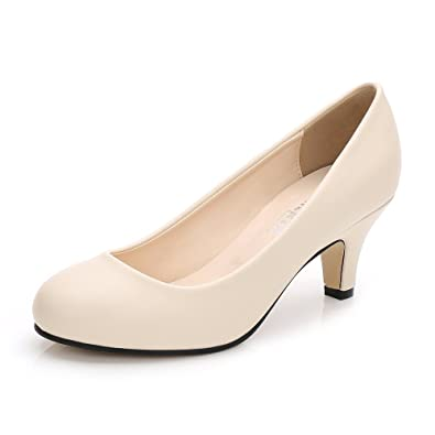db2de79799 OCHENTA Women's Round Toe Kitten Heel Dress Work Party Pumps Beige PU Label  Size 35 -