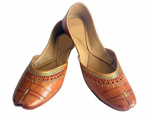 Stap N Stijl Vrouwen Patiala Jutti Salwar Kameez Etnische Schoenen Platte Sandalen Pantoffels Bruin