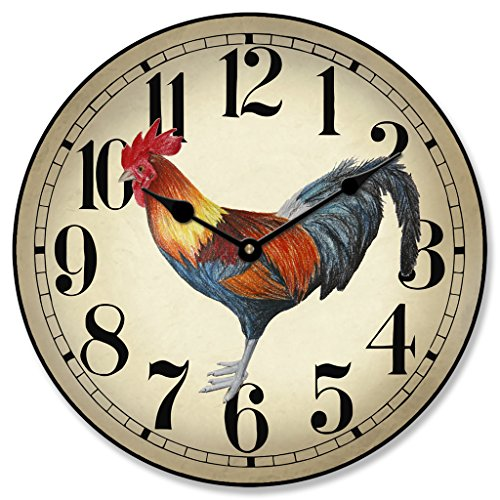 Fancy Rooster Wall Clock, Available in 8 Sizes, Most Sizes Ship 2-3 Days, Whisper Quiet.