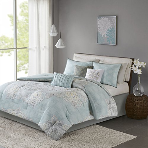 Lucinda 7 Piece Reversible Cotton Sateen Comforter Set Blue Cal King by Madison Park