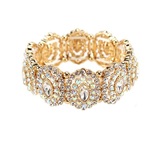 SP Sophia Collection Women's Marquise Austrian Crystal Halo Cuff Wide Bangle Stretch Rhinestone Bracelet in Gold Clear
