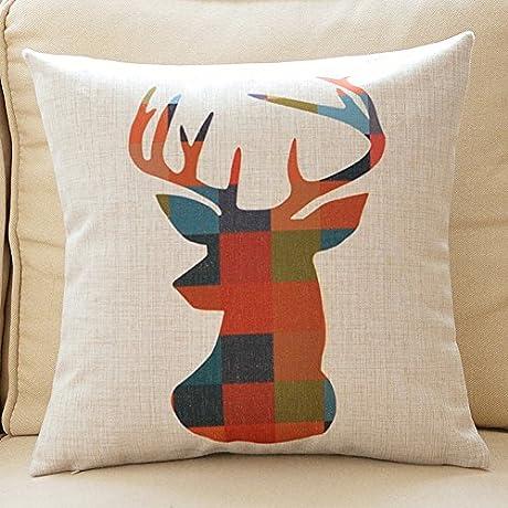 Nordic Cotton Pillow Geometry Cotton Linen Sofa Pillow Lumbar Pads D 55x55cm 22x22inch VersionA
