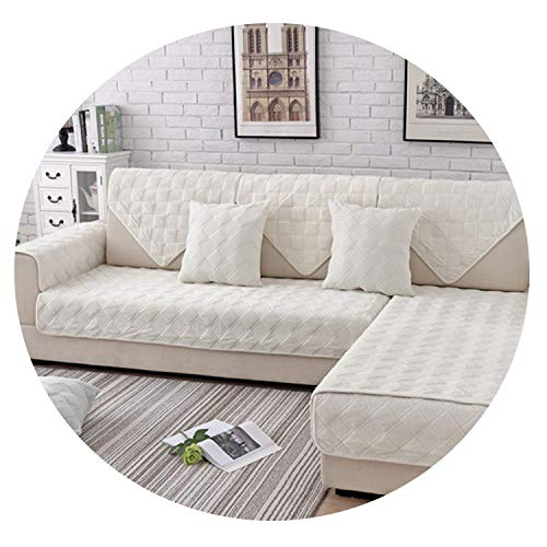 (Petit couture Grey Pink Plaid Quilted Plush sectional Sofa Cover slipcovers Furniture Couch Covers Sofa Protector capa de Sofa fundas,Beige White per pic,90cm180cm 1piece)
