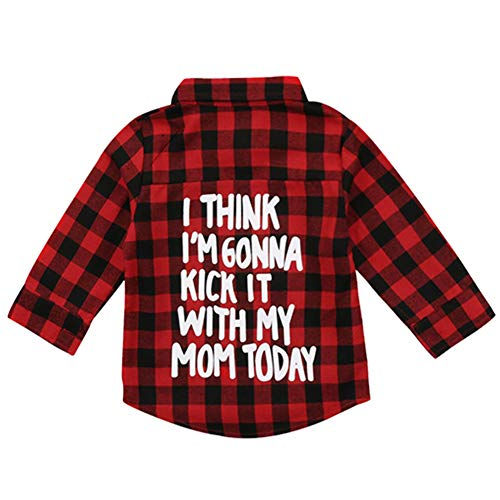 (Toddler Kids Little Boys Girls Baby Long Sleeve Button Down Red Plaid Flannel Spring Top Shirt Plaid (Red, 4-5T))