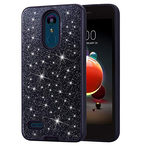 (DAMONDY LG Aristo 2 Plus Case,LG Aristo 2,LG Zone 4,LG K8 2018,LG Tribute Dynasty, Shockproof Glitter Women Girls 2 in 1 Shiny Bling Hybrid Bumper Soft Gel TPU Protective Phone Case Cover-Black)